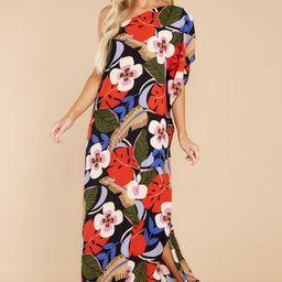 Palm Spring Paradise Black Multi Tropical Print Dress | Red Dress