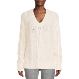 Time and Tru - Time and Tru Women's Cable Sweater with V-Neck - Walmart.com | Walmart (US)