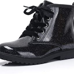 Girls Glitter Ankle Boots, Lace Up Waterproof Combat Shoes With Side Zipper for Little Kid/Big Ki... | Amazon (US)