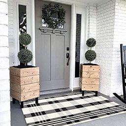 Black White Buffalo Plaid Rug Outdoor Doormat 3' x 5' Cotton Woven Checkered Rugs Machine Washabl...   Amazon (US)