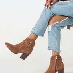 Velvet Side Zipper Chunky Western Boots | SHEIN
