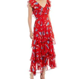 WAYF Chelsea Floral Print V-Neck Cap Sleeve Ruffle Hem Dress   Dillard's   Dillards