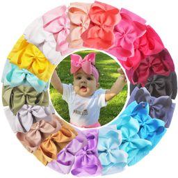 20PCS Baby Girls Soft Nylon Headbands 6Inch Big Bows Elastic Nylon Hairbands Hair Accessories for... | Amazon (US)