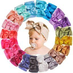 20 Colors 6 Inches Baby Girls Large Big Bows Headbands Elastic Nylon Hairbands Turban Hair Access... | Amazon (US)