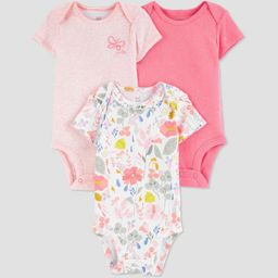 Baby Girls' 3pk Butterfly Floral Bodysuit - Just One You® made by carter's White/Pin... | Target