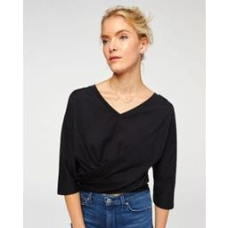 V-Neck Twist Tee in Jet Black | 7 For All Mankind