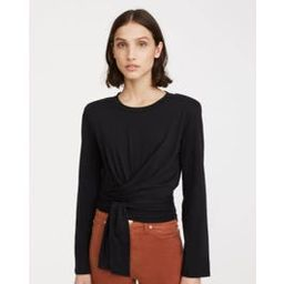 Shoulder Pad Twist Tee In Jet Black | 7 For All Mankind