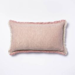 Linen Throw Pillow with Contrast Frayed Edges - Threshold™ designed with Studio McGee   Target