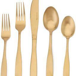 Matte Gold Silverware Set, 20-Piece Stainless Steel Flatware set, Tableware Cutlery Set Service f... | Amazon (US)