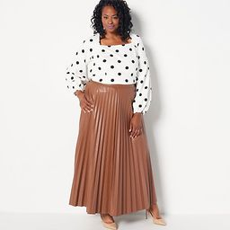 Girl With Curves Faux Leather Pleated Ankle Skirt   QVC