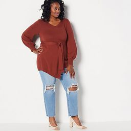 Girl With Curves Faux Wrap Sweater   QVC