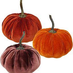 Set of 3 Faux Large Rustic Harvest Decorative Pumpkins Velvet Foam Pumpkins Fabric Pumpkins in Ru... | Amazon (US)