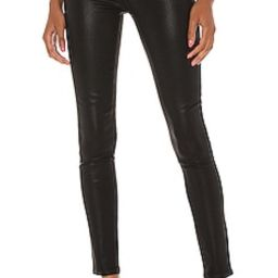 PAIGE Hoxton Ultra Skinny With Exposed Buttonfly in Black Fog Luxe Coating from Revolve.com   Revolve Clothing (Global)