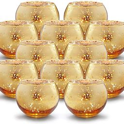 Volens Round Gold Votive Candle Holders, Mercury Glass Candle Holder Set of 12 | Amazon (US)