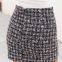 Run Away With Me Black Tweed Skirt   The Pink Lily Boutique