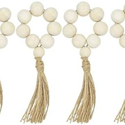 LIOOBO 8pcs Wood Bead Garland with Tassels Farmhouse Beads Rustic Country Decor Prayer Beads Wall... | Amazon (US)