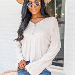 Sweet Invitation Taupe Henley Knit Blouse | The Pink Lily Boutique