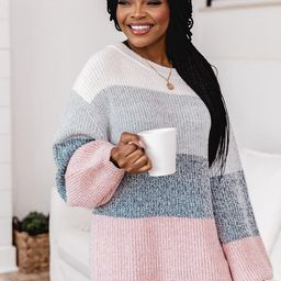 Lost In This Moment Slate Colorblock Sweater | The Pink Lily Boutique