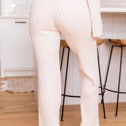 Everlasting Memory Ribbed Cream Pants | The Pink Lily Boutique