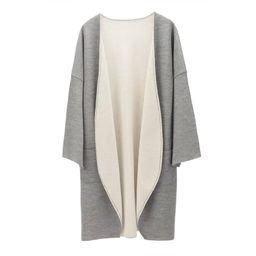 Lightweight Reversible Coat, Gray Coatigan, Long Coatigan, Long Cardigan Coat, Fall Workwear   Cuyana