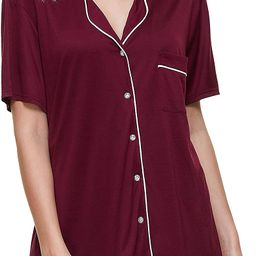 Womens Pajama Sets Soft Loungewear Set Short Sleeve Button Sleepwear Two-Piece Pj Sets Nightwear ... | Amazon (US)