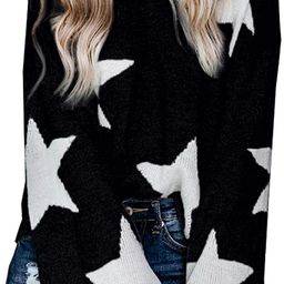 PRETTYGARDEN Women's Winter V Neck Lantern Long Sleeve Star Color-Block Split Knit Sweater Pull... | Amazon (US)