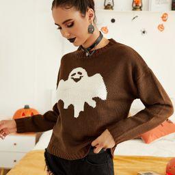 Ghost Pattern Drop Shoulder Sweater   SHEIN