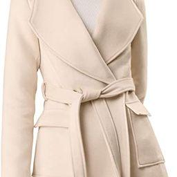 Allegra K Women's Shawl Collar Lapel Winter Belted Coat with Pockets | Amazon (US)