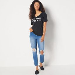 Girl With Curves Regular High Waisted Girlfriend Jean | QVC