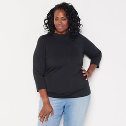 Girl With Curves Mock Neck Knit Top   QVC