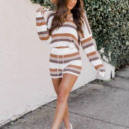Desert Daydreamer Striped Knit Brown Shorts | The Pink Lily Boutique