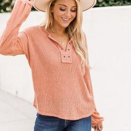 Lasting Words Split Orange V-Neck Ribbed Blouse | The Pink Lily Boutique
