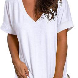 SAMPEEL Women's V Neck T Shirt Rolled Sleeve Side Split Tunic Tops   Amazon (US)