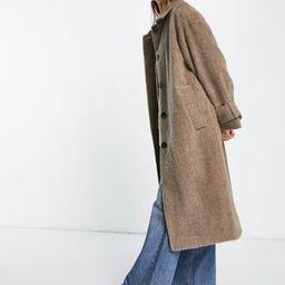 ASOS DESIGN oversized brushed boyfriend coat in mushroom   ASOS (Global)