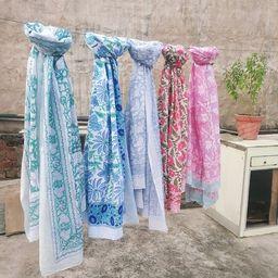 Hand Block Print Cotton Scarfs Beach Sarongs Soft Voile Fabric   Etsy   Etsy (US)