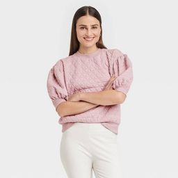 Women's 3/4 Sleeve Quilted Pullover Sweatshirt - A New Day™ | Target