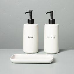 3pc Stoneware Soap & Lotion Pump Set Matte Sour Cream - Hearth & Hand™ with Magnolia | Target