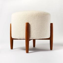 Elroy Sherpa Round Ottoman with Wood Legs Cream - Threshold™ designed with Studio McGee | Target