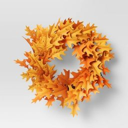 "22"" Fall Oak Leaves Wreath Orange - Threshold™ | Target"