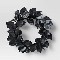 "18"" Artificial Leaf Wreath Black - Threshold™ | Target"