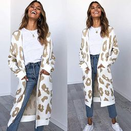 Angashion Women's Long Sleeves Leopard Print Knitting Cardigan Open Front Warm Sweater Outwear Coats | Amazon (US)