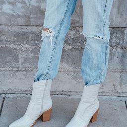 Eleora Bone Crocodile-Embossed Mid-Calf High Heel Boots   Lulus (US)