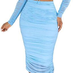 Two Piece Outfits for Women Drawstring Ruched Mesh Patchwork Long Sleeve Crop Top + Bodycon Midi ... | Amazon (US)
