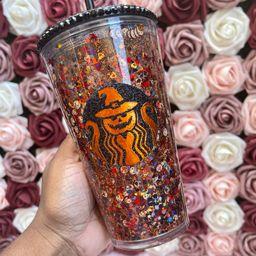Pumpkin Orange & Black Halloween Snow Globe Tumbler|Starbucks Rhinestone Lid Tumbler | Etsy (US)