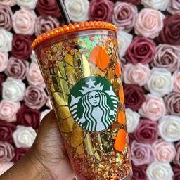 Sunflower Pumpkin Halloween Snow Globe Tumbler|Starbucks Rhinestone Lid Tumbler|Floating Glitter|... | Etsy (US)