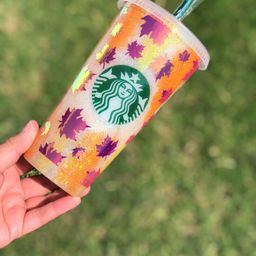 FALL LEAVES STARBUCKS Cup | Fall Glitter Starbucks Cup | Custom Glitter Tumbler | Leaves Tumbler ... | Etsy (US)