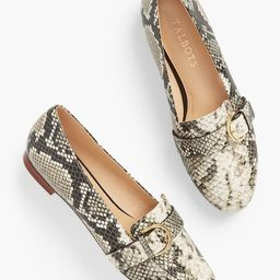 Ryan Buckle Embossed Leather Loafers | Talbots