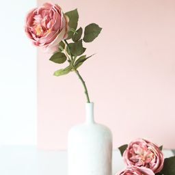 """Silk English Cabbage Rose in Mauve Pink - 25"""" Tall 