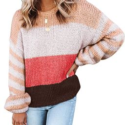 ZESICA Women's Long Sleeve Crew Neck Striped Color Block Casual Loose Knitted Pullover Sweater To...   Amazon (US)