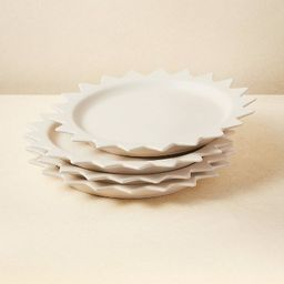 """10"""" 4pk Stoneware Pointed Sun Dinner Plates White - Opalhouse™ designed with Jungalow&#... 